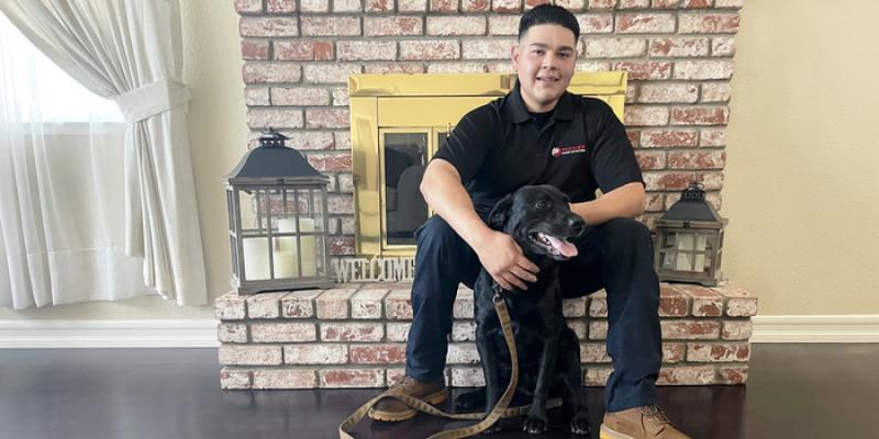Jordan Garcia and canine Raider